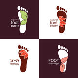 Footprint icons with leaves and flowers. Set of footprint icons and emblems with flowers and leaves for organic health and beauty care design vector illustration