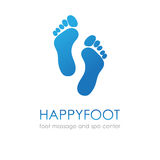 Footprint In Blue Colors. Foot Logo Fot Healthcare, Medical Company, Osteopath And Massage Center, Spa And Beauty Salon Stock Photo
