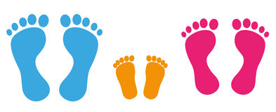 Footprint Man Woman Child Royalty Free Stock Photos