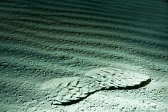 Footprint on the moon Stock Photography