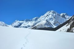 Footprint in mountains Stock Photos