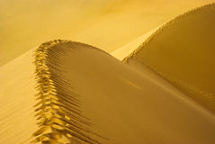 Footprint path on Sand Dune Stock Photo