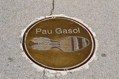 Footprint of Pau Gasol near of the Olympic Stadium in Montjuic, Barcelona Stock Photography