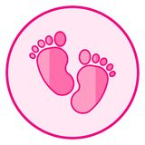 Footprint. Pink baby icon on a white background royalty free illustration