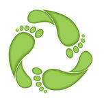 Footprint recycle sign. Be green vector illustration