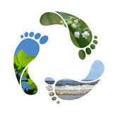 Footprint recycle sign royalty free stock photos