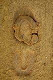 Footprint on sand. Closeup of footprint on sand Stock Images