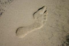 Footprint in Sand. At beach Stock Photos