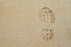 Footprint in the sand. On beach Stock Photos