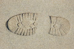 Footprint in the sand. Footprint royalty free stock photography