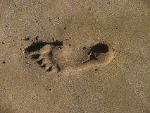 Footprint in sand Royalty Free Stock Photography