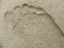 Footprint in the sand. Footprint in sand texture stock photos