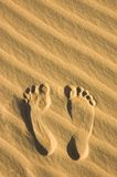 Footprint on the sand Stock Image