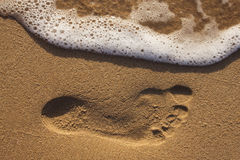Footprint in the sand Royalty Free Stock Photography