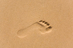Footprint on sand Royalty Free Stock Photos