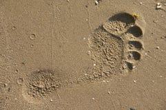 Footprint on sand beach Stock Photo