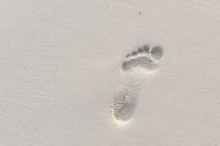 Footprint on the sand Stock Photo