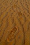 Footprint on the sand in desert Royalty Free Stock Photography