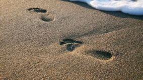 Footprint on the sand stock video footage