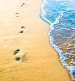 Footprint on sand with foam Royalty Free Stock Photo