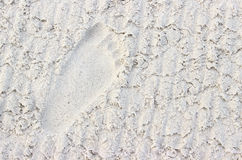 Footprint in the Sand. A single footprint in freshly groomed sand royalty free stock photo