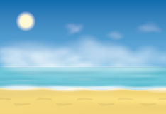 Footprint on the sand. Steps on the beach. Background with sea and blue sky. Vector illustration. Stock Photo