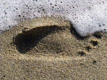 Footprint in the sea Royalty Free Stock Photography