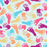 Footprint seamless pattern. Hand and footprint colorful seamless pattern Stock Image