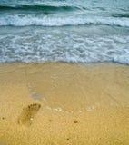 Footprint on seashore Royalty Free Stock Images