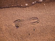 Footprint of a shoe on a beach with water royalty free stock photography