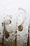 Footprint on snow. My footprints at home on my balcony Stock Photography