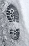 Footprint in Snow Royalty Free Stock Photo