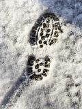 Footprint In Snow. On a cold morning Royalty Free Stock Photos