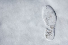 Footprint on snow Stock Image