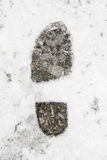 Footprint in snow Royalty Free Stock Image
