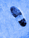 Footprint in the Snow Treking Hiking Royalty Free Stock Photo