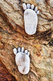 Footprint on stones Royalty Free Stock Photo