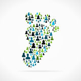 Footprint. Symbol made out of large group of people vector illustration