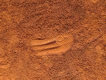 Footprint on a tennis court bright color. stock photos