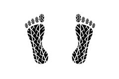 Footprint with Tire tread pattern Royalty Free Stock Photography