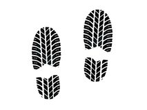 Footprint with tires tread Stock Image