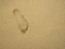 Footprint on the tropical beach. In vacation time royalty free stock photo