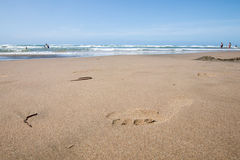 Footprint on wet sand, beach simbolic shape. Footprint on wet sand with the sea in the background Royalty Free Stock Photo