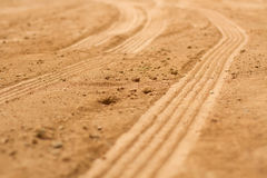 Footprint. Wheel footprint on sand made a pattern and texture Stock Images
