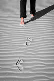 Footprint on white sand. Walking on white sand is leaving unique footprints Royalty Free Stock Photos