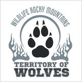 Footprint Wolves emblem -  dangerous territory Stock Photo
