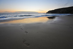 Footprints. On sand, sunset time Royalty Free Stock Image