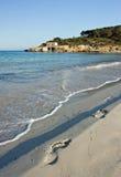 Footprints. On a sandy beach, Mallorca royalty free stock image