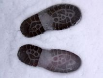 Footprints. In the snow. Winter time stock photography