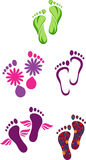 Footprints. Vector illustration depicting footprints in five different styles Stock Photography